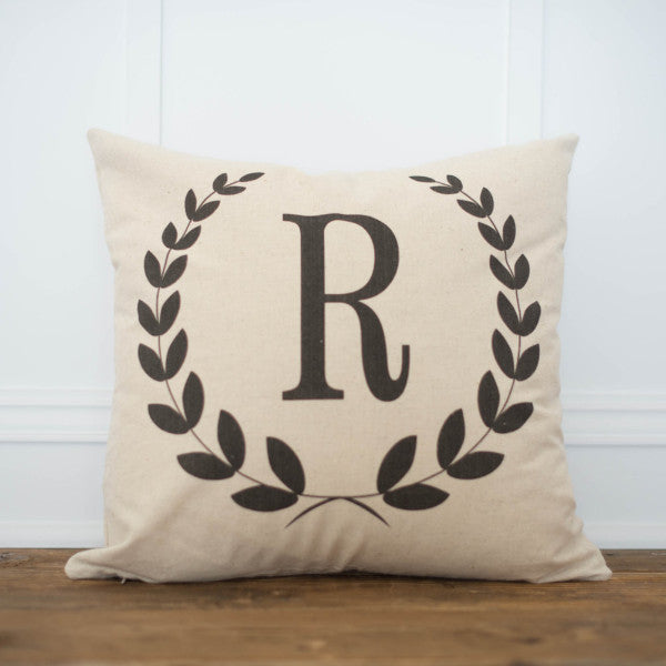 Monogram Laurel Wreath Pillow Cover - Linen and Ivory
