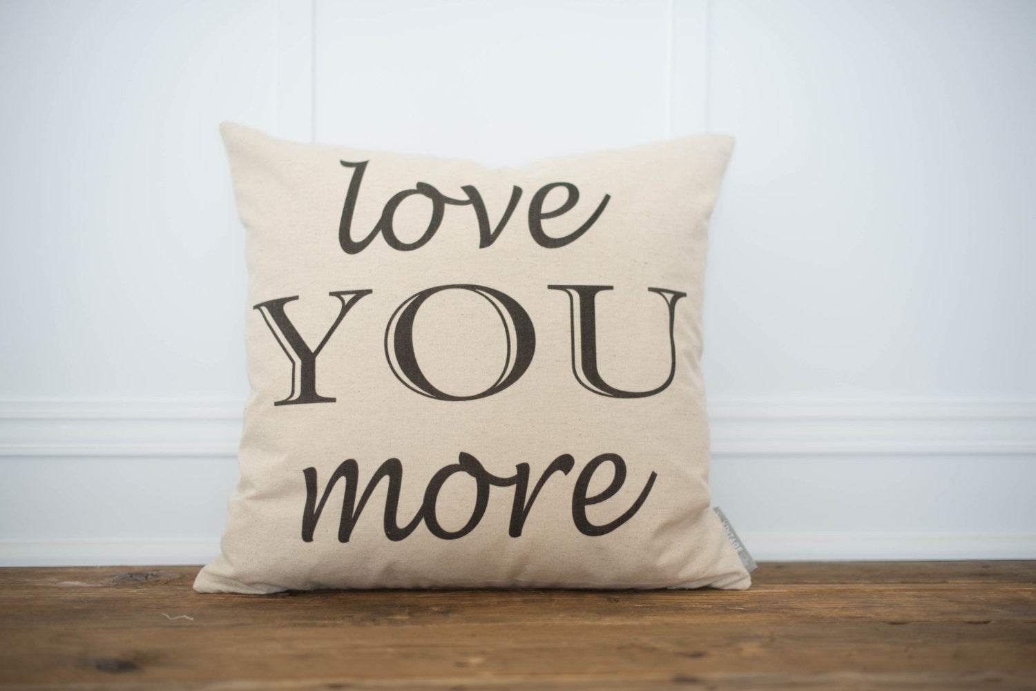 Love You More Pilow Cover - Linen and Ivory