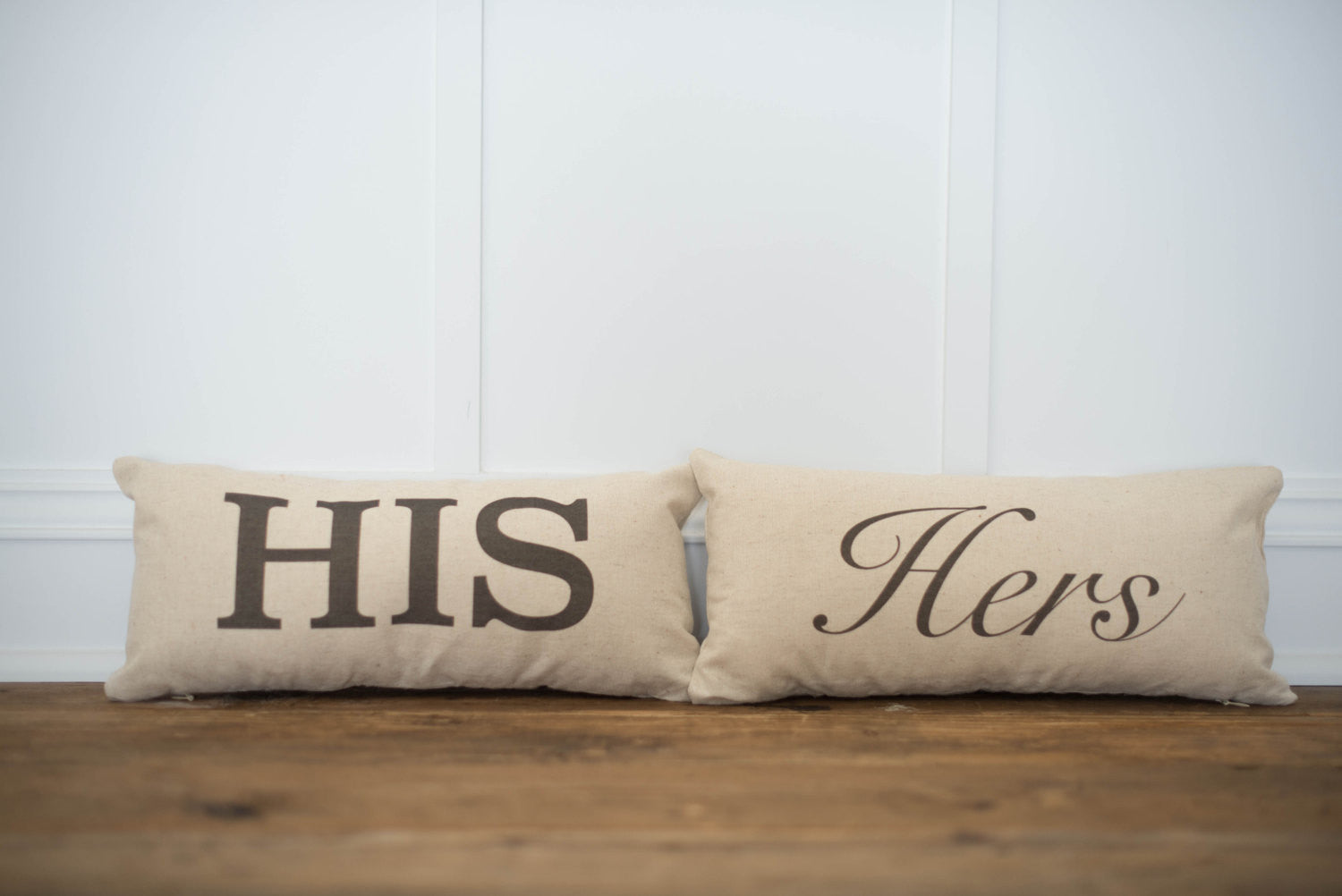 His & Hers Pillow Covers (Set of 2) - Linen and Ivory