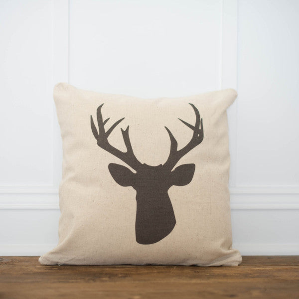 Stag Silhouette Pillow Cover - Linen and Ivory