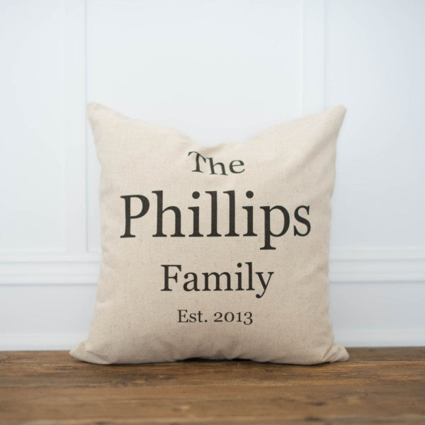 Family Name & Date Pillow Cover - Linen and Ivory