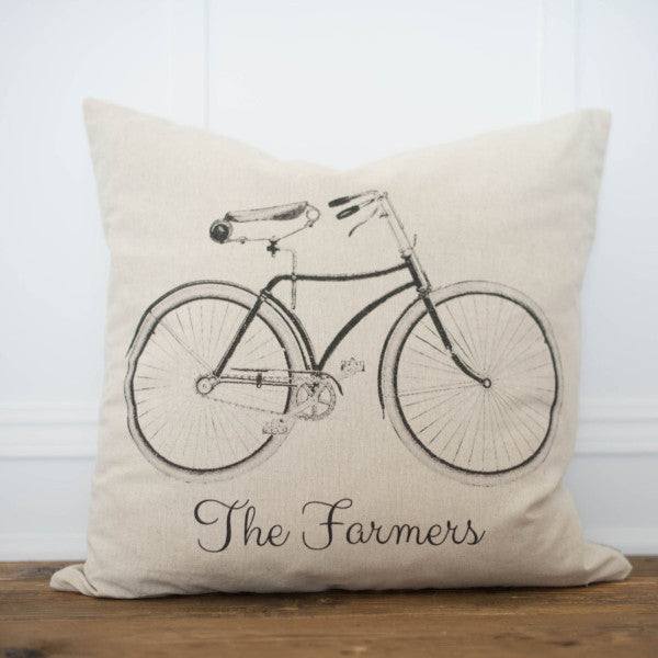 Custom Name Bike Pillow Cover - Linen and Ivory