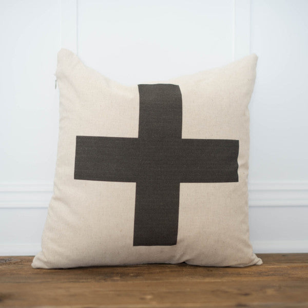 Swiss Cross Pillow Cover - Linen and Ivory