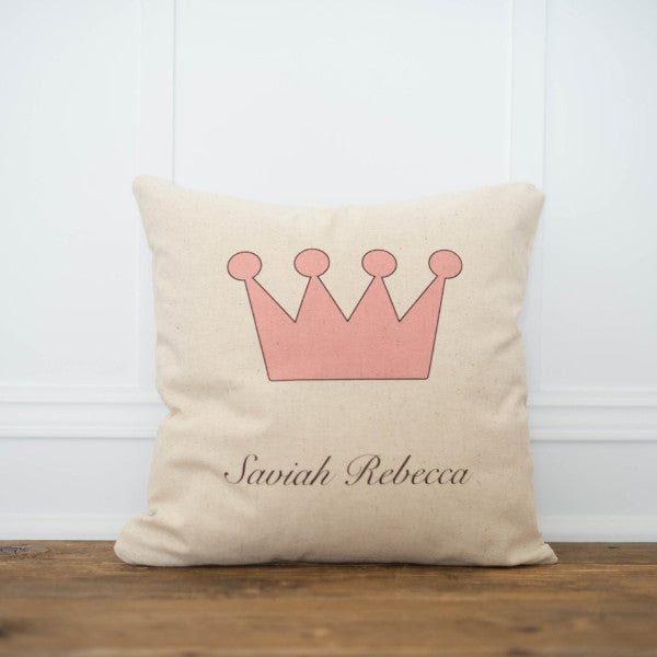 Custom Crown Pillow Cover - Linen and Ivory