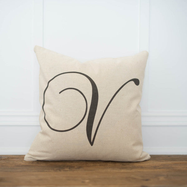 Script Monogram Pillow Cover - Linen and Ivory