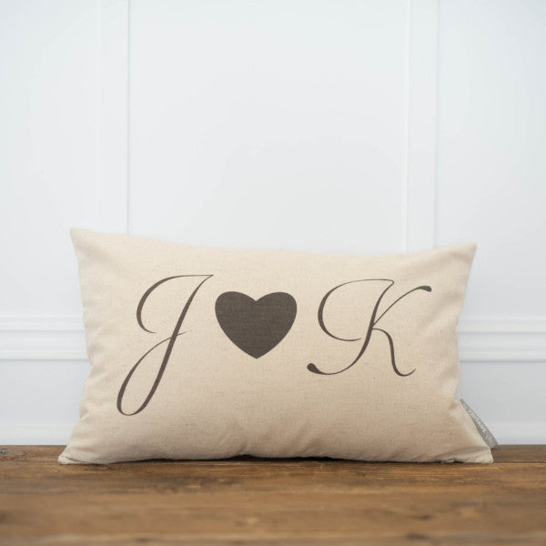Monogram Heart Pillow Cover - Linen and Ivory