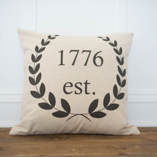 Custom Date Laurel Wreath Pillow Cover - Linen and Ivory