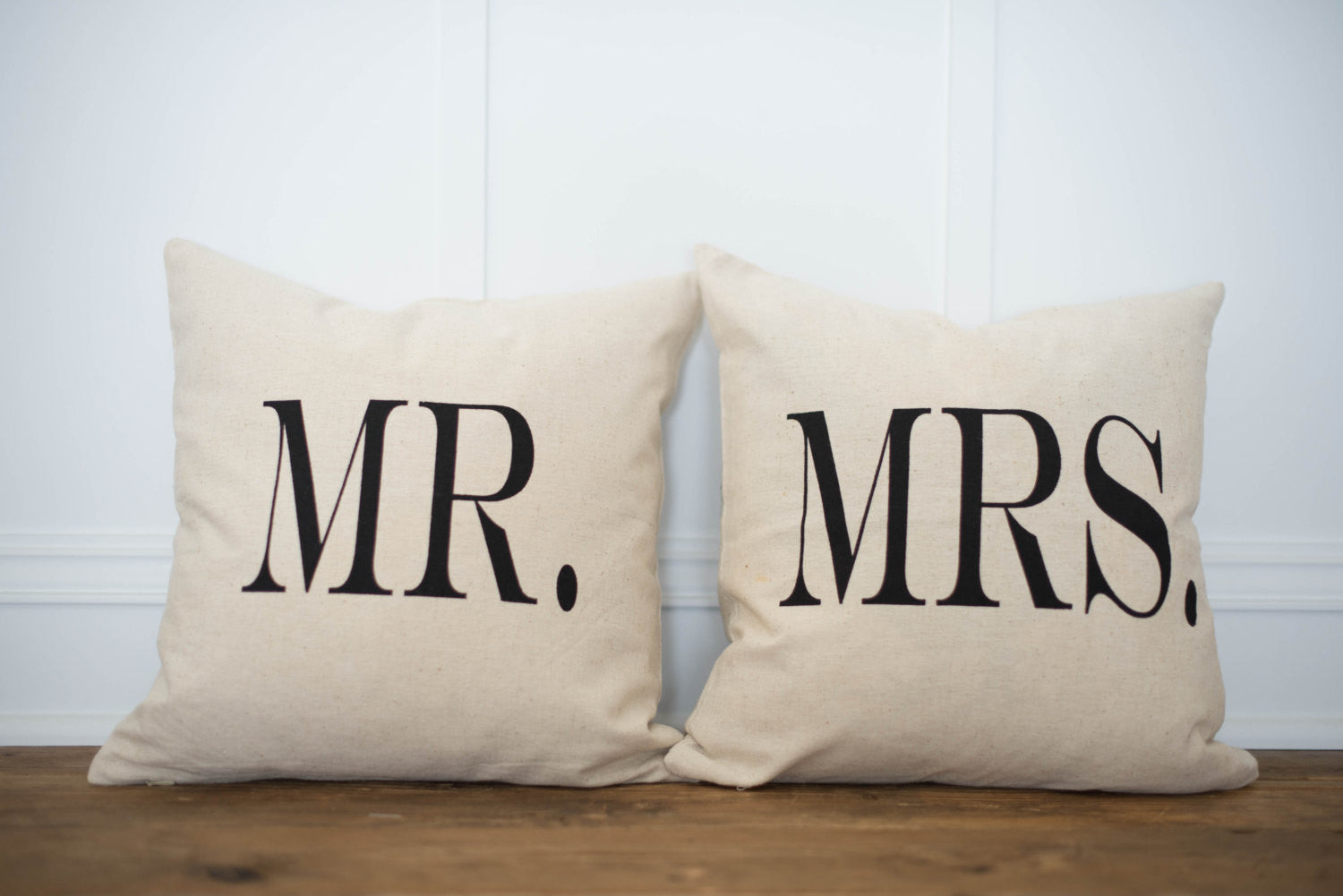 Mr & Mrs Pillow Covers- Bold (Set of 2) - Linen and Ivory