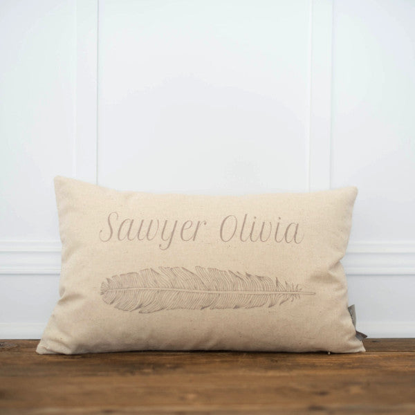 Custom Feather Pillow Cover - Linen and Ivory