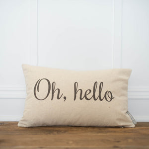 Oh Hello Pillow Cover - Linen and Ivory