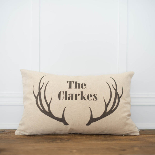 Antler Name Pillow Cover - Linen and Ivory