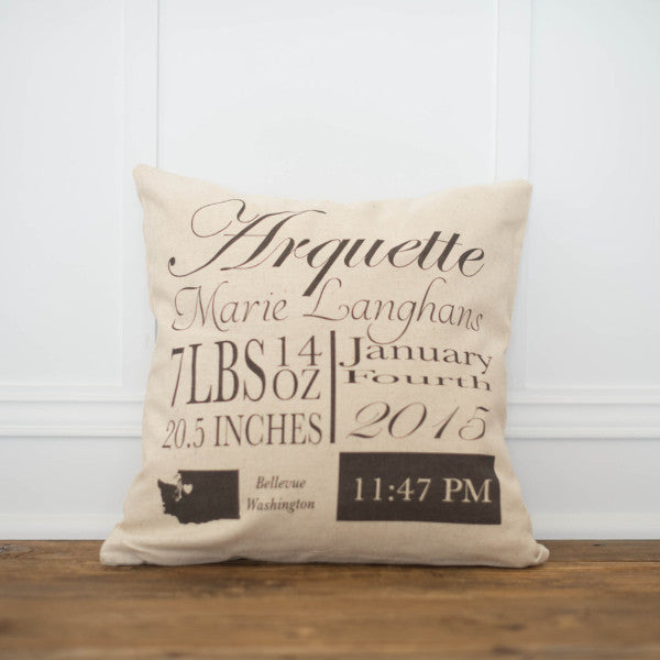 Script Birth Announcement Pillow Cover - Linen and Ivory