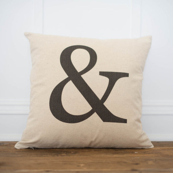 Ampersand Pillow Cover - Linen and Ivory