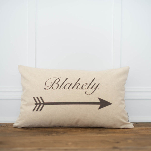 Custom Name & Arrow Pillow Cover (Script) - Linen and Ivory