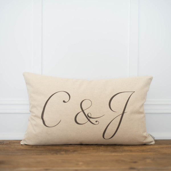 Monogram Pillow Cover - Linen and Ivory