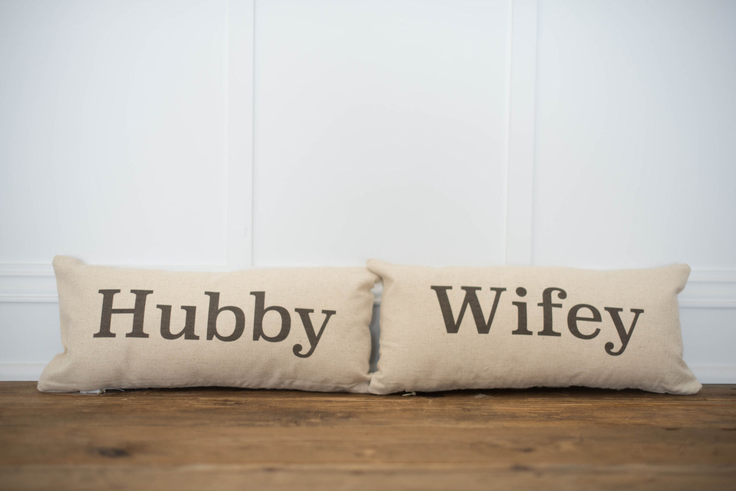 Hubby & Wifey Pillow Covers (set of 2) - Linen and Ivory