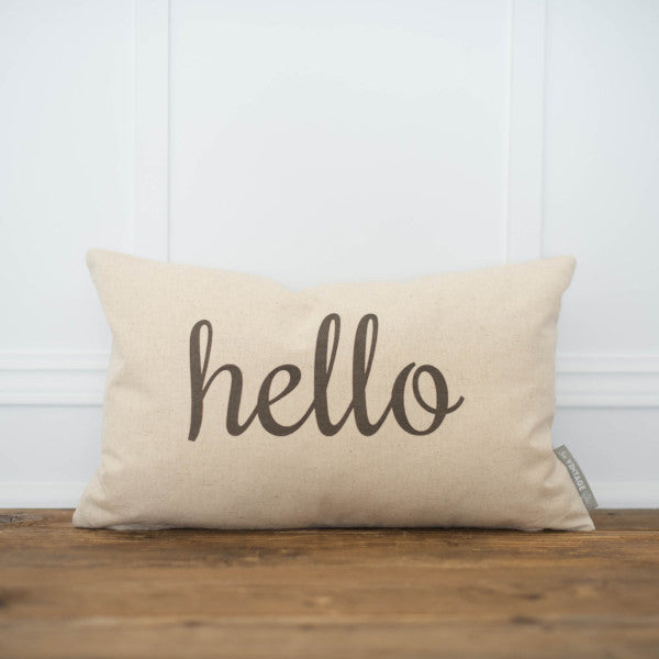 Hello Pillow Cover - Linen and Ivory