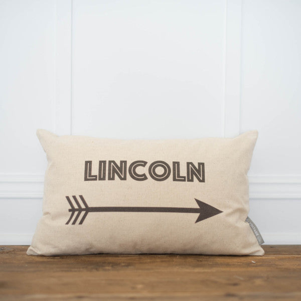 Custom Name & Arrow Pillow Cover (Bold) - Linen and Ivory