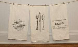 French Tea Towel Set - Linen and Ivory