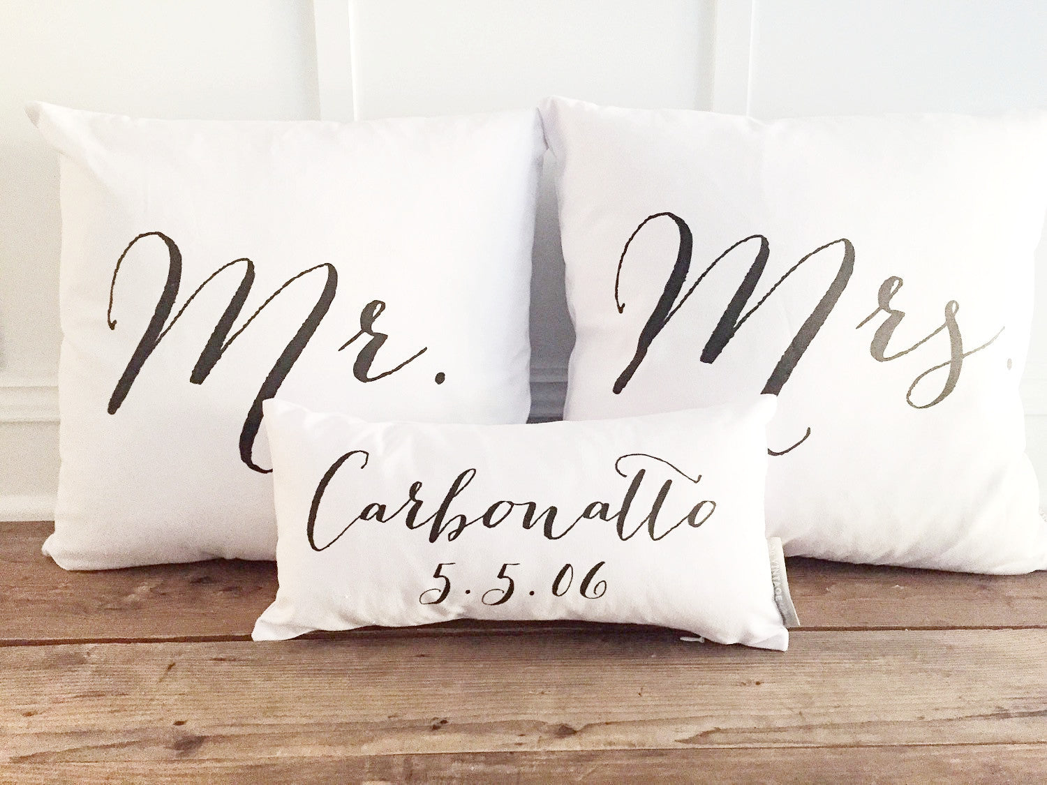 Mr & Mrs Pillow Cover With Name & Wedding Date Design 2 (Set of 3) - Linen and Ivory