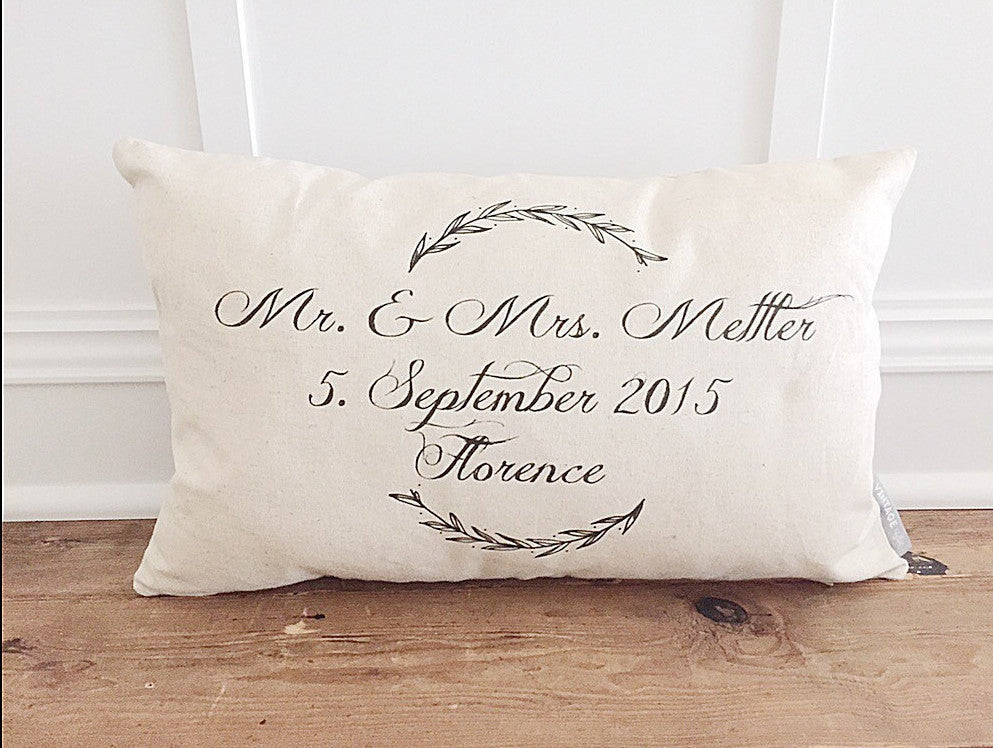 Mr & Mrs Laurel Wreath Pillow Cover - Linen and Ivory