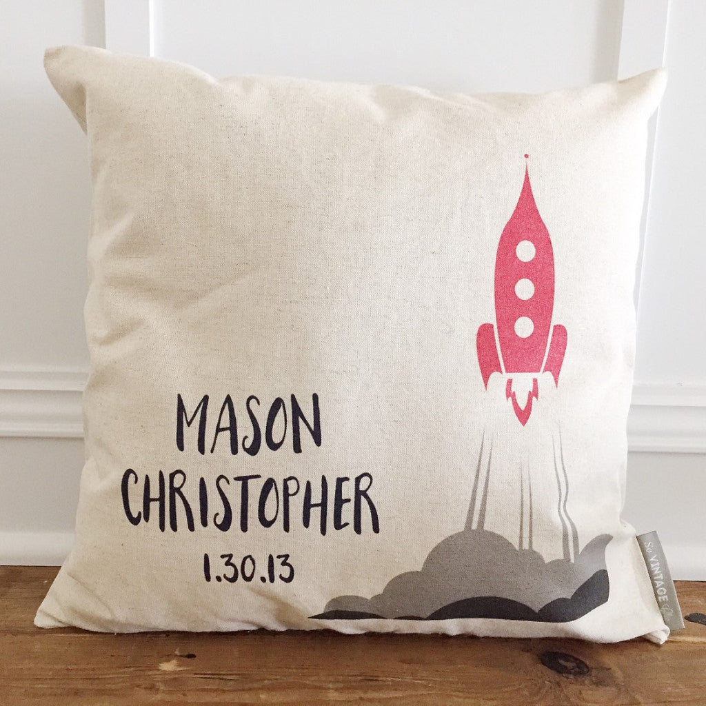 Custom Rocket Ship Pillow Cover - Linen and Ivory