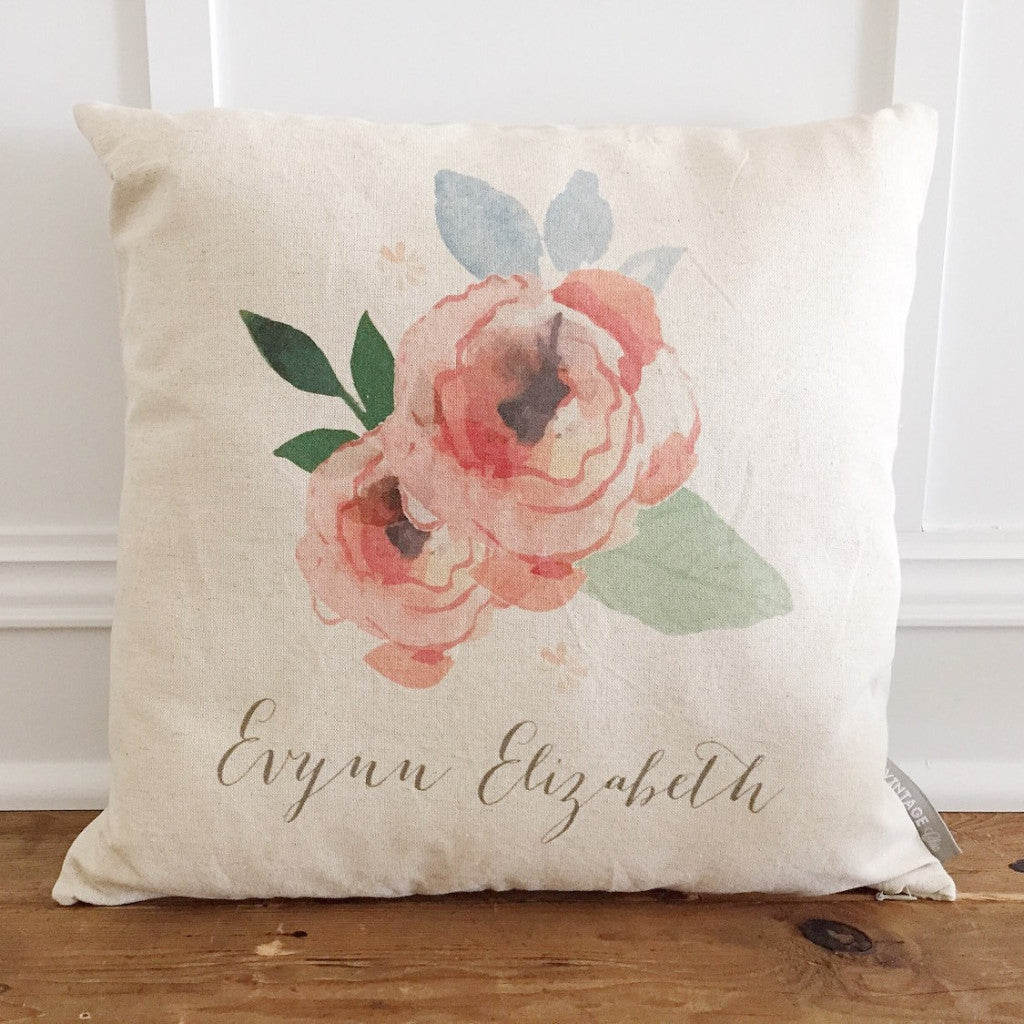 Custom Watercolor Flower Pillow Cover - Linen and Ivory