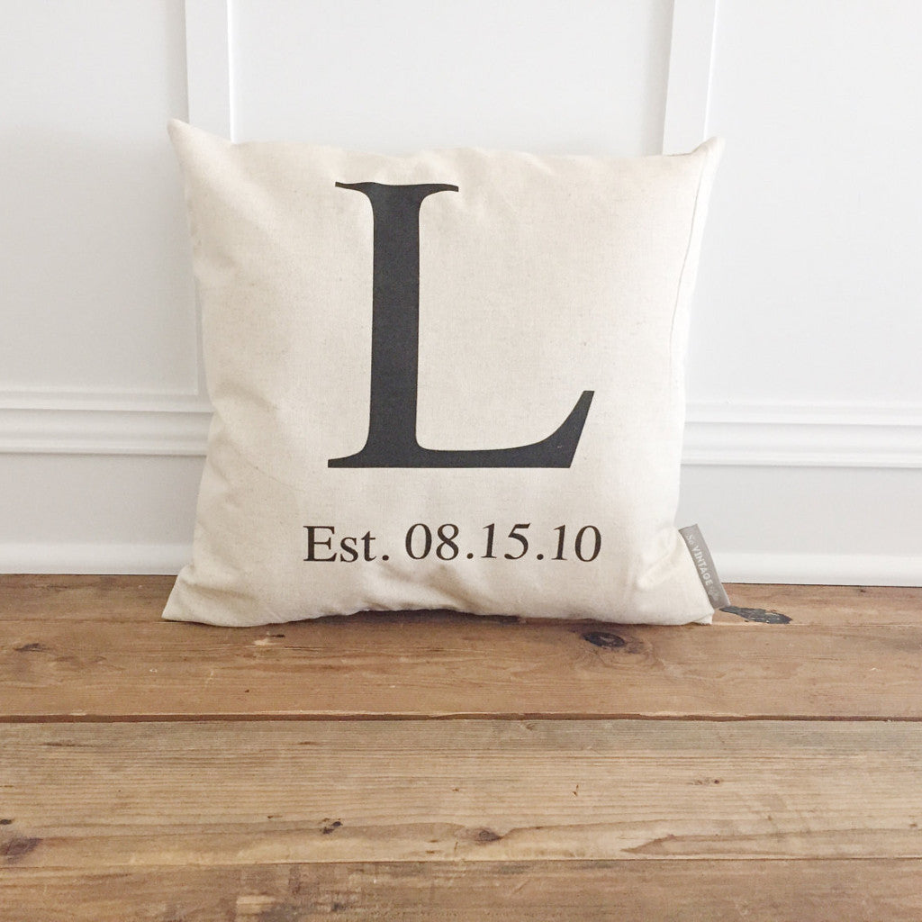 Monogram & Date Pillow Cover - Linen and Ivory
