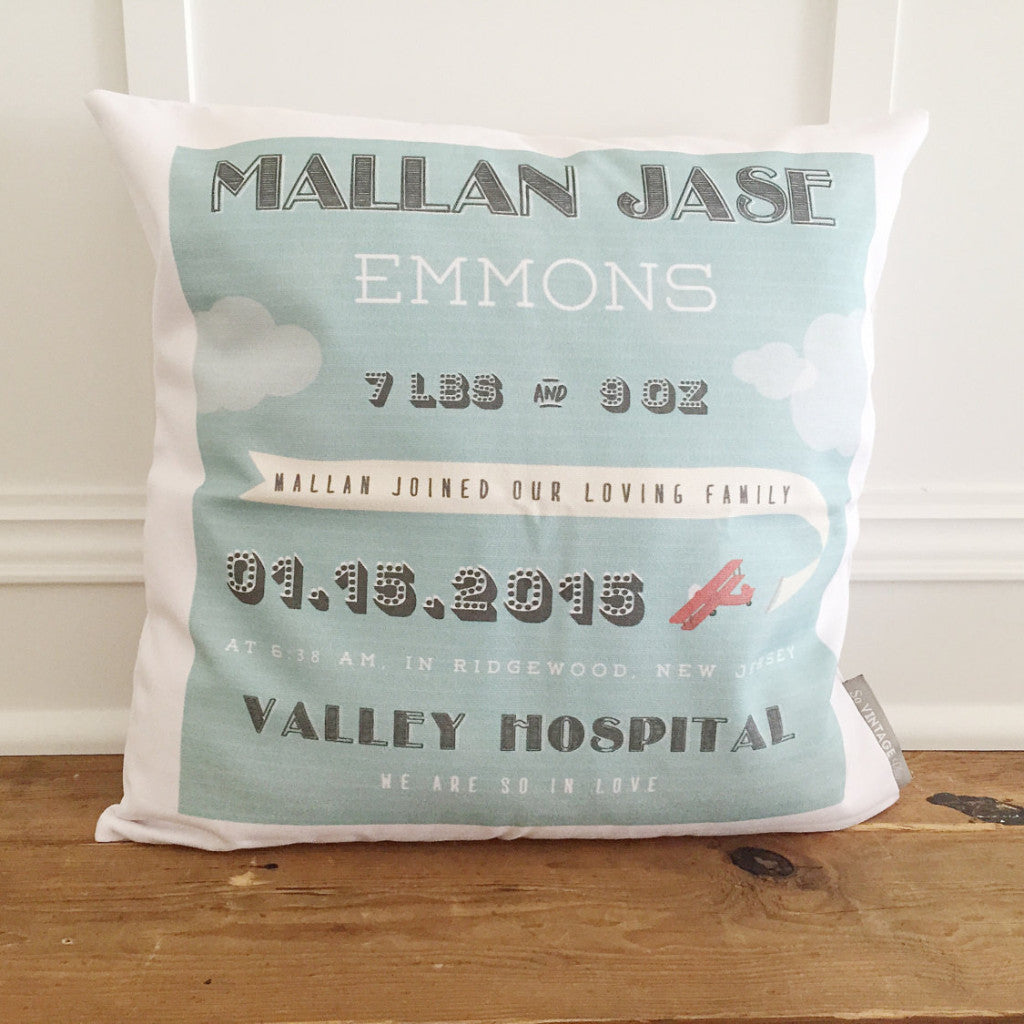 Airplane Birth Announcement Pillow Cover - Linen and Ivory