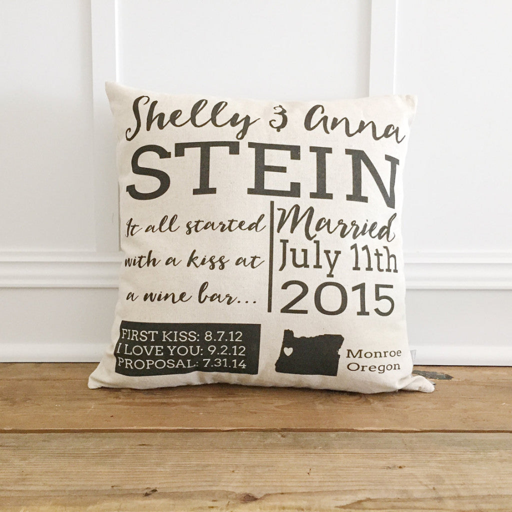 Personalized Wedding Pillow Cover - Linen and Ivory