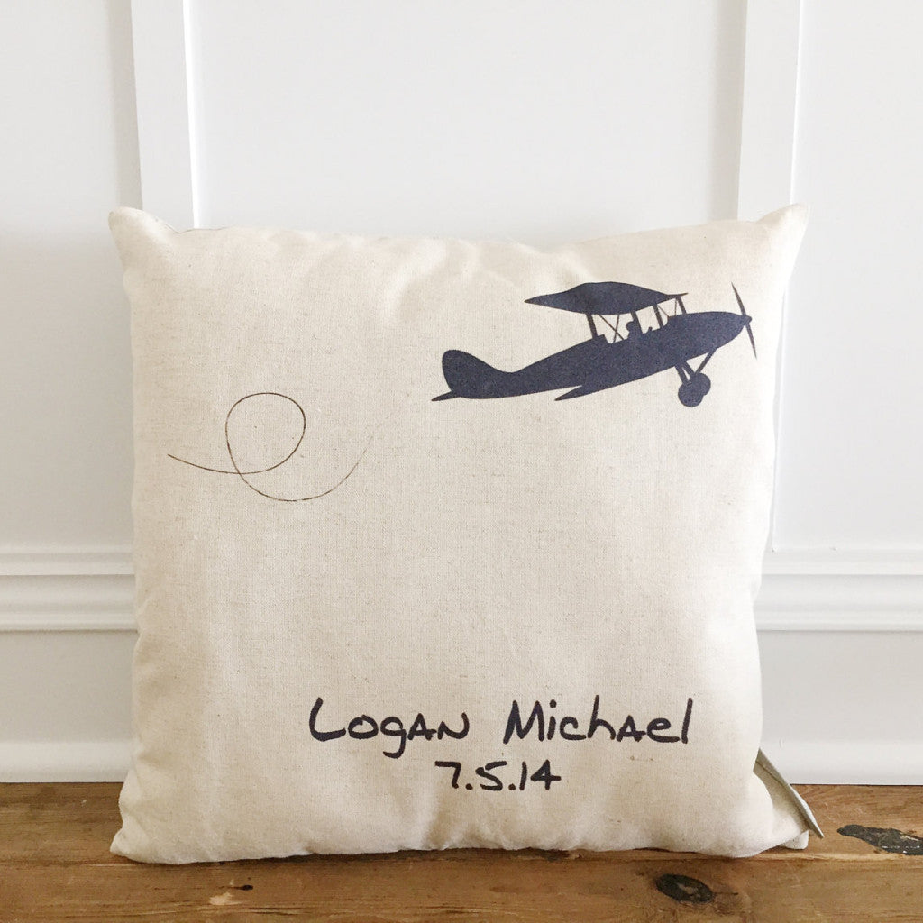 Custom Vintage Plane Pillow Cover - Linen and Ivory