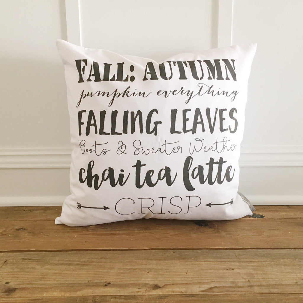 Fall Words Pillow Cover - Linen and Ivory