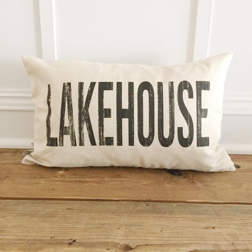 Distressed Lakehouse Pillow Cover - Linen and Ivory