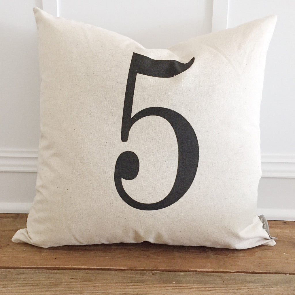 Typography Custom Number Pillow Cover - Linen and Ivory