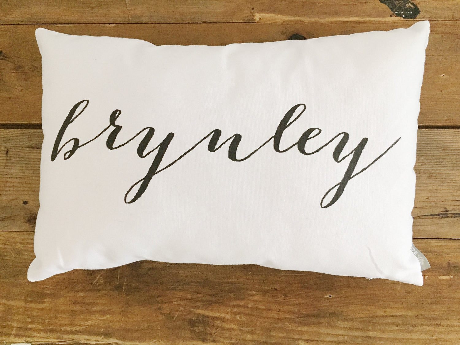 Custom Name Pillow Cover (Script) - Linen and Ivory