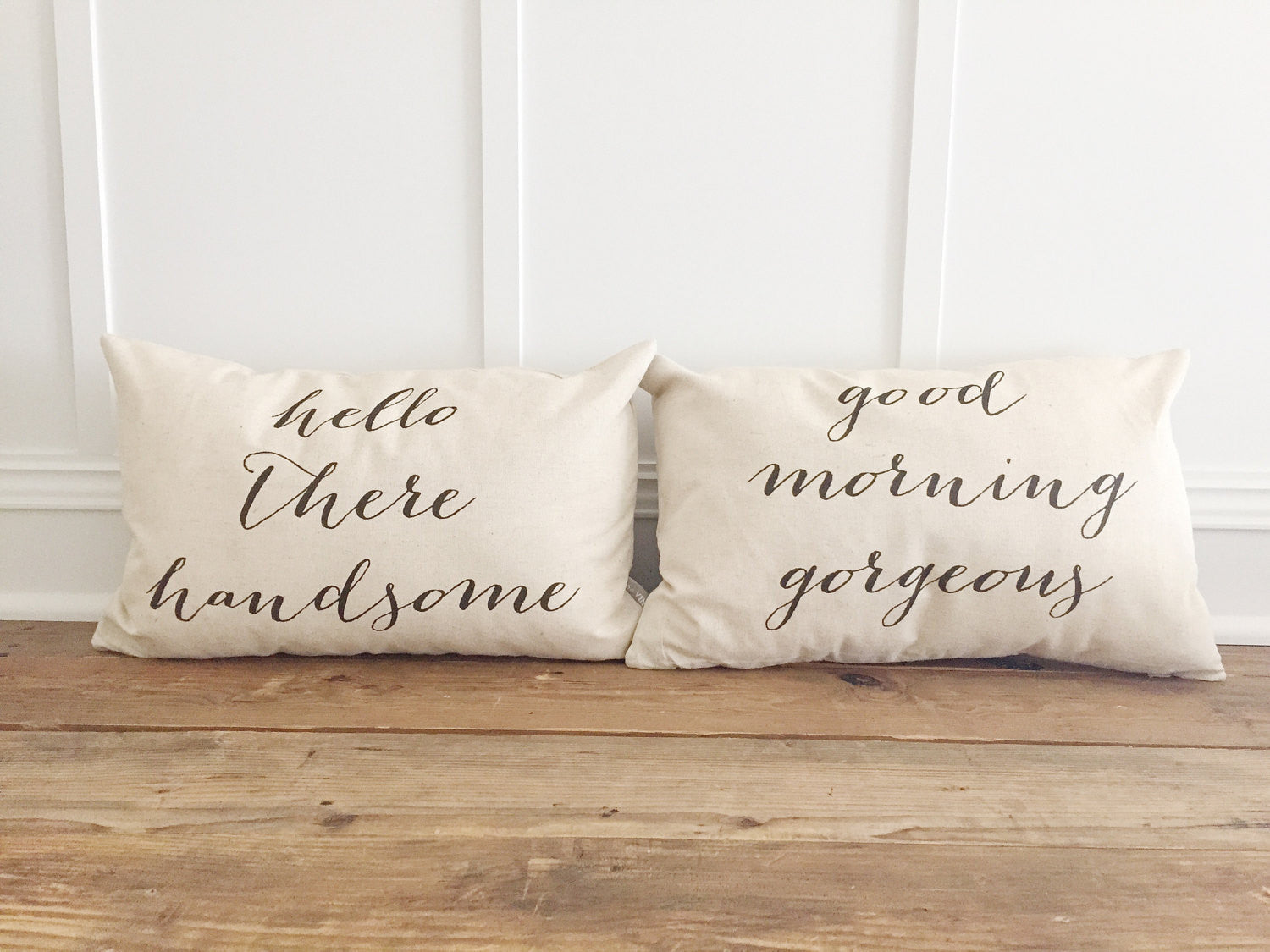 Completely new Hello There Handsome- Good Morning Gorgeous Pillow Cover (Set of 2  OG47