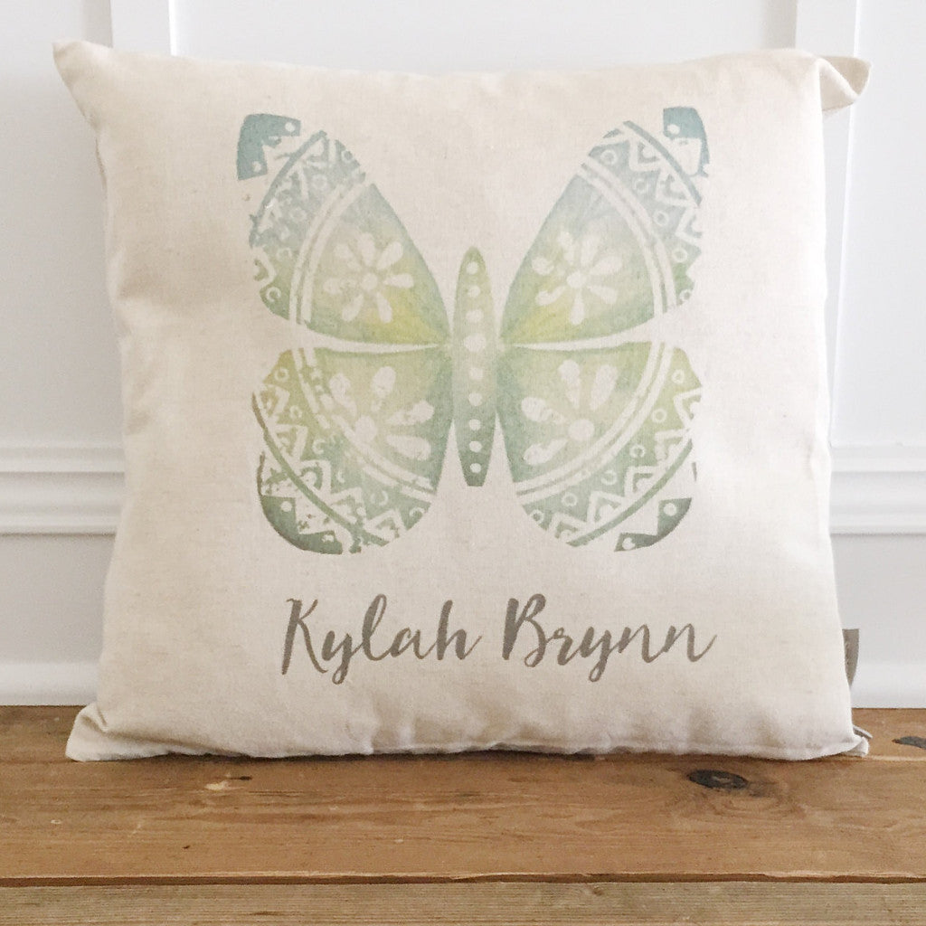 Custom Name Butterfly Pillow Cover - Linen and Ivory