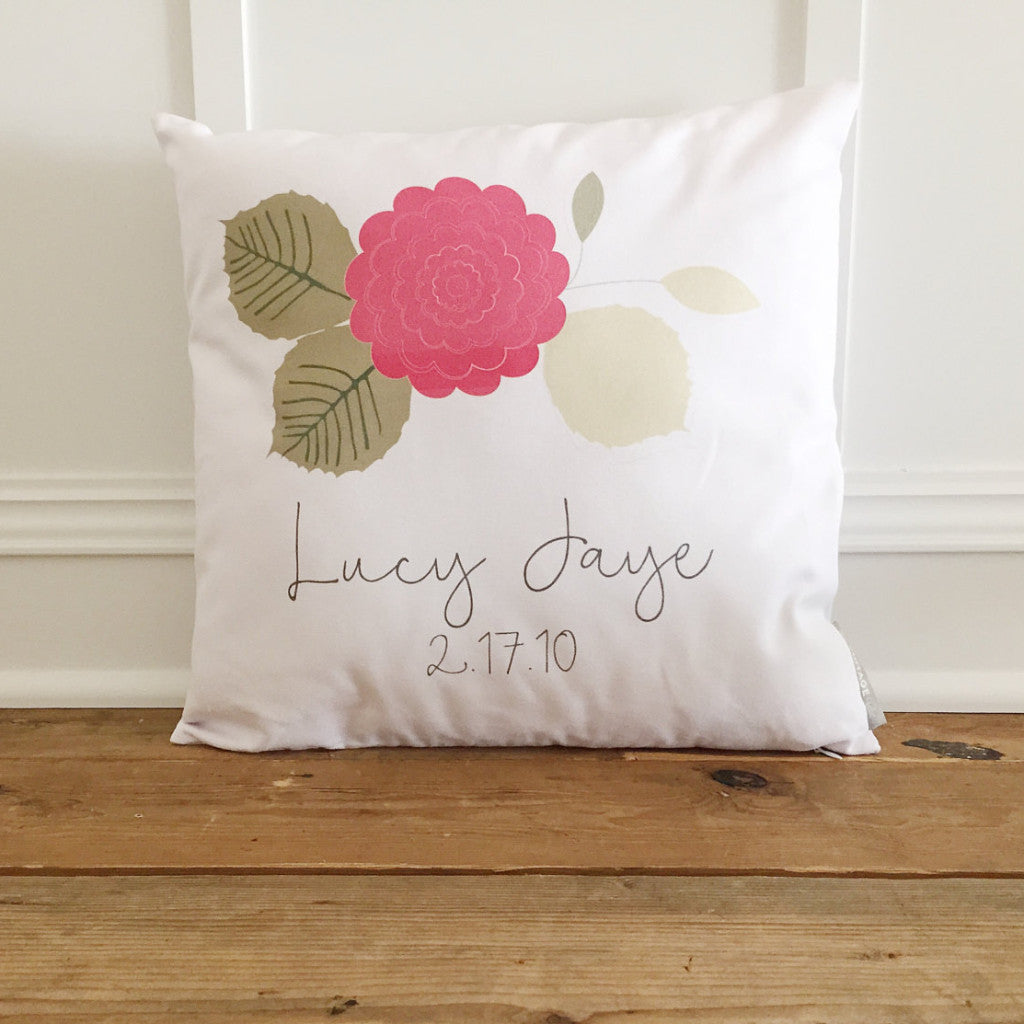 Custom Name Flower Pillow Cover - Linen and Ivory