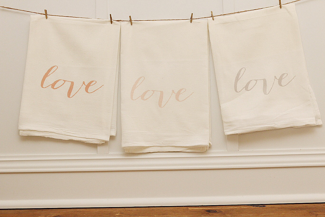 Love Tea Towel Set - Linen and Ivory