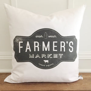 Farmer's Market Badge Pillow Cover - Linen and Ivory
