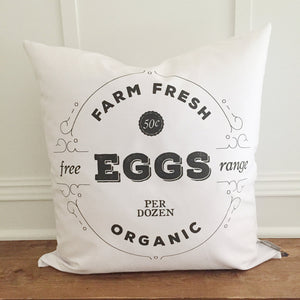 Farm Fresh Eggs Pillow Cover - Linen and Ivory