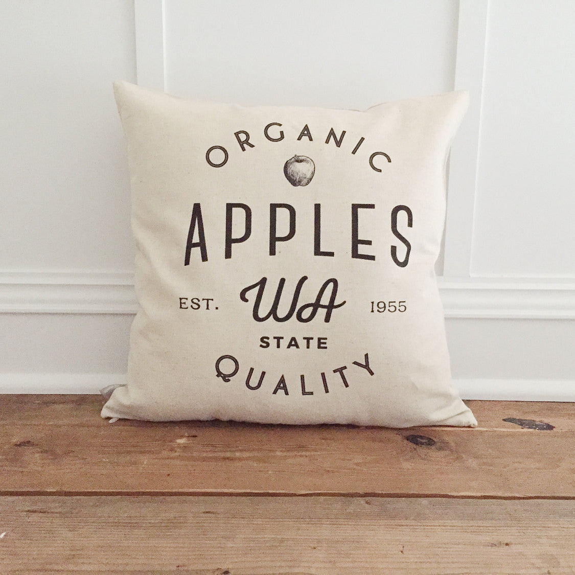 Organic Apple Pillow Cover - Linen and Ivory