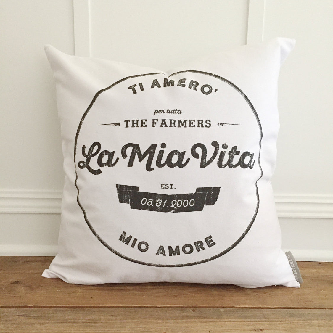 Custom Italian Wedding Pillow Cover - Linen and Ivory