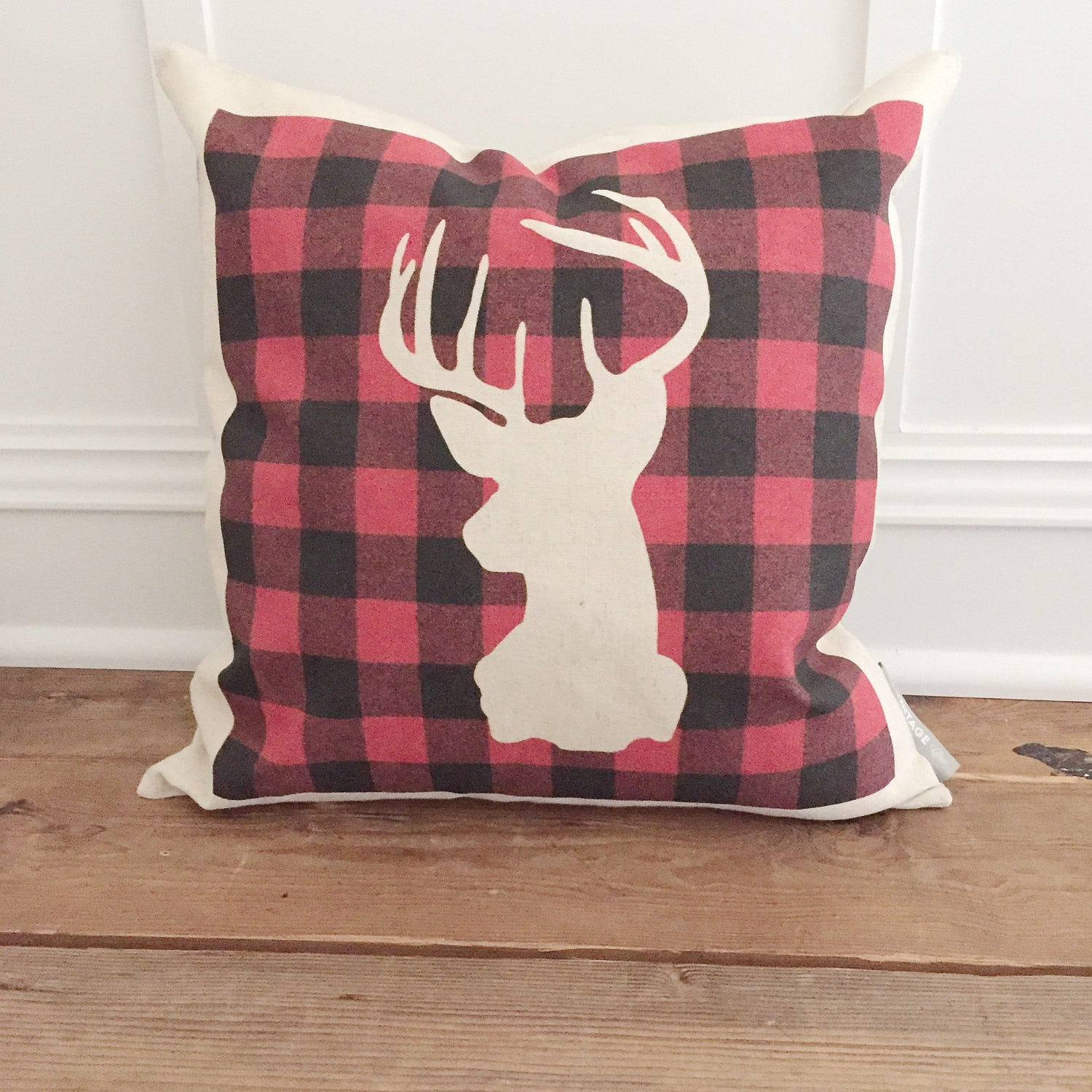 Buffalo Plaid Stag Negative Space Pillow Cover - Linen and Ivory