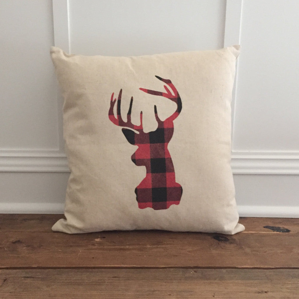 Buffalo Plaid Stag Pillow Cover (Red) - Linen and Ivory
