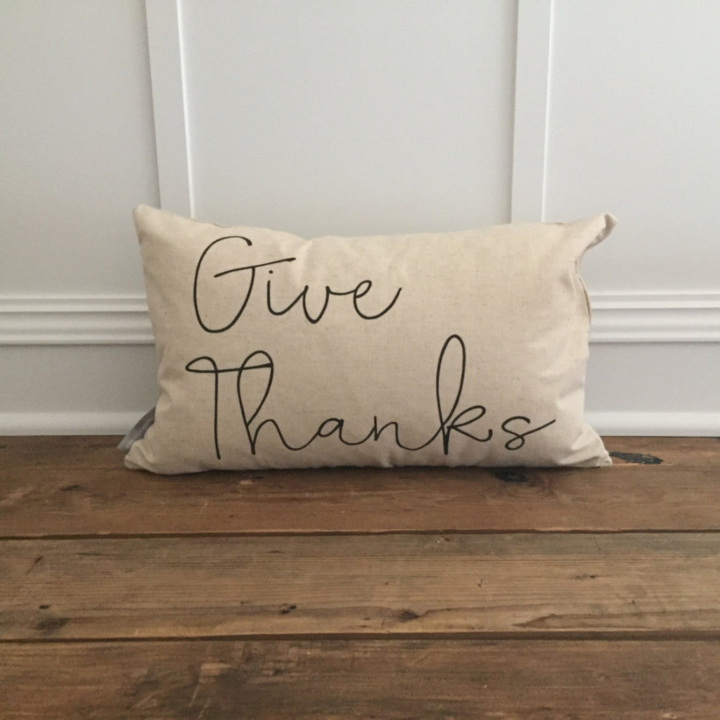 Give Thanks Pillow Cover - Linen and Ivory