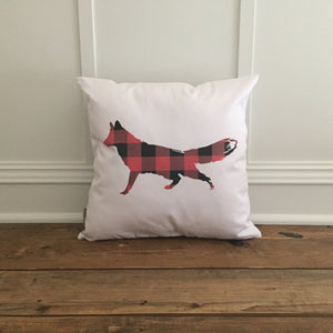 Buffalo Plaid Fox (Red) Pillow Cover - Linen and Ivory