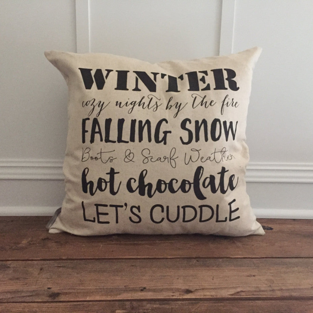 Winter Words Pillow Cover - Linen and Ivory
