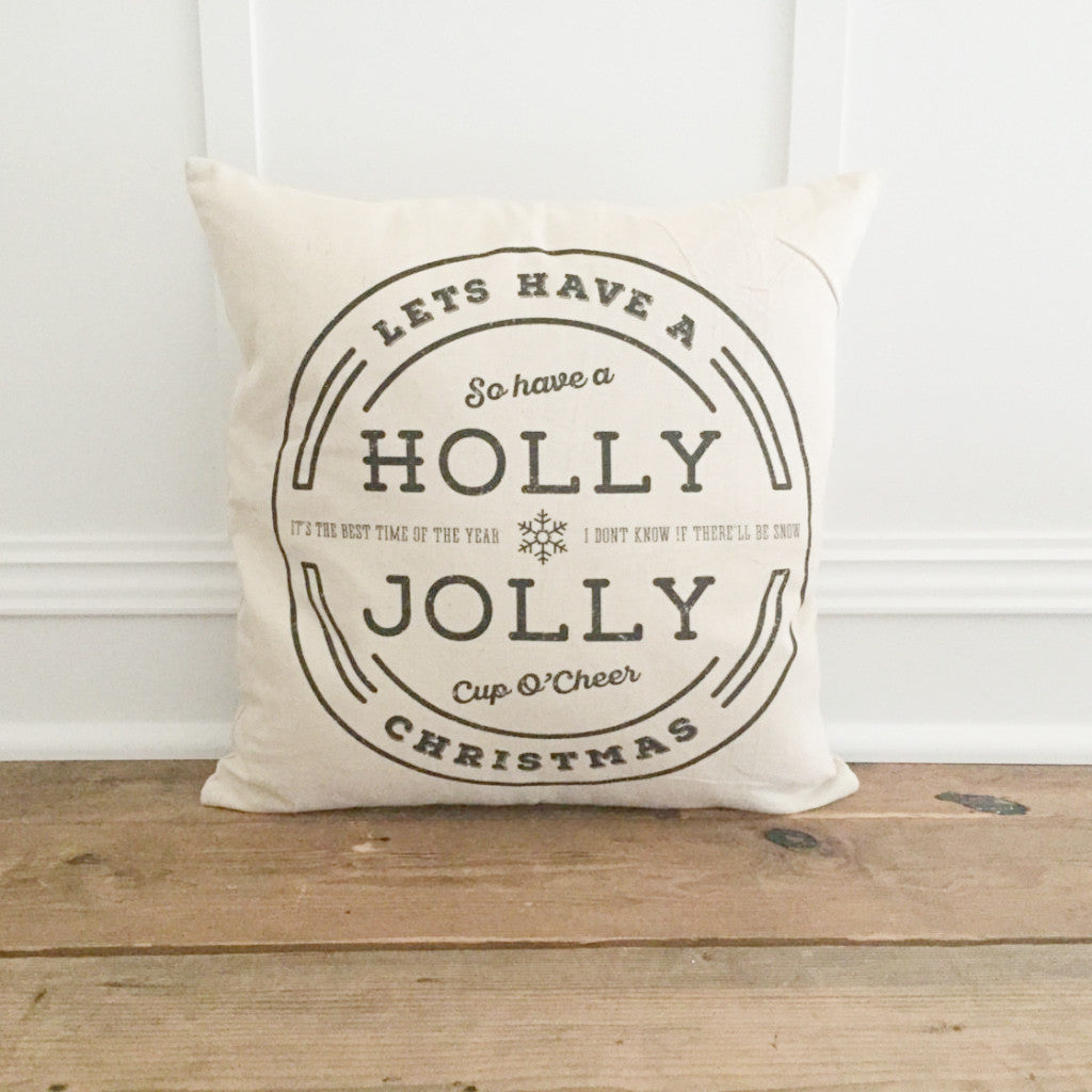Holly Jolly Pillow Cover (Black) - Linen and Ivory