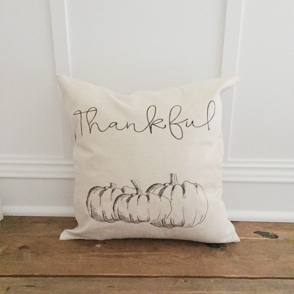 Thankful Pumpkin Pillow Cover - Linen and Ivory